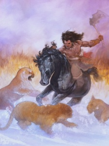 Frank Frazetta Tribute Painting by Dave Dorman in Steps