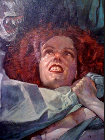 XCU of the face in Dave Dorman horror art painting