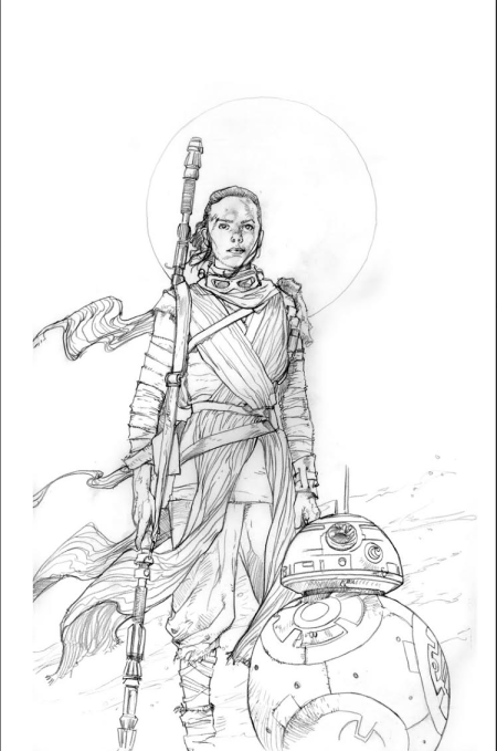 Rey and BB8 Pencil Prelim Star Wars Art by Dave Dorman