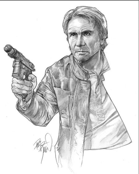 Han Solo original pencil sketch by Dave Dorman