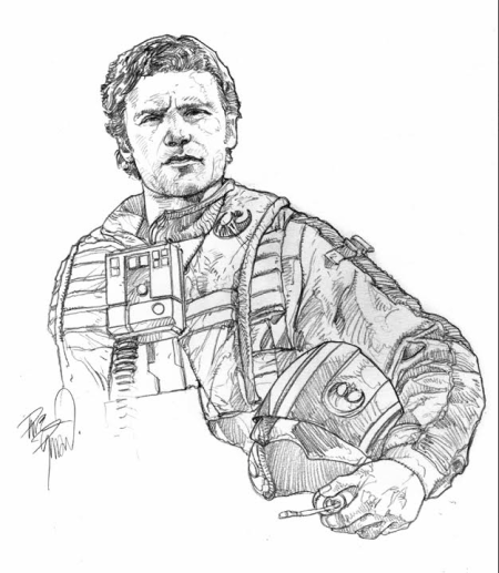 Poe Dameron original pencil art by Dave Dorman