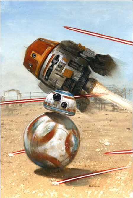 A fun Star Wars original Dave Dorman painting of BB8 and Chopper, done for the 501st Midwest Garrison Droid hunt card game.