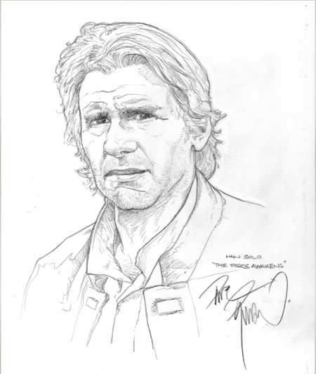 "An aged Han Solo from ""A Force Awakens"" - original pencil art by Dave Dorman. $100, includes shipping worldwide."