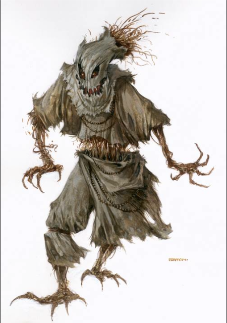"Original D&D Monster Manual Artwork by Dave Dorman! This art was done for the 2014 D&D MM titled ""SCARECROW."" It appears on Page 268. The price is $450, including shipping worldwide."